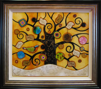 Tree of Tranquility, Square (Cream Base, Yellow Background)