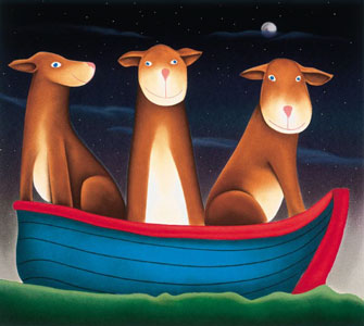 My Three Dogs In A Boat