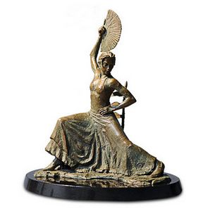 Flamenco Dancer with Fan - Bronze