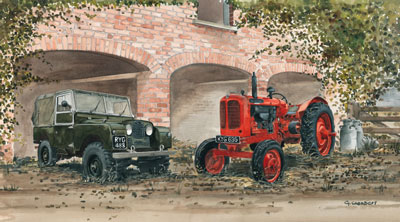 Working Together - Landrover & Tractor by Graham Chambers