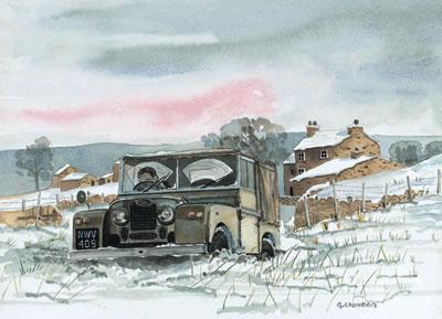 No Through Road, In Snow - Landrover