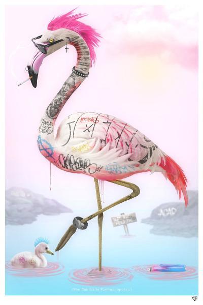 Punk Flamingos- White Frame