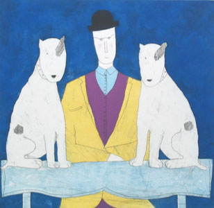 Lady & Two Dogs - Blue by Annora Spence