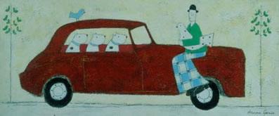 Lady Sitting On The Car
